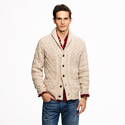 Donegal wool cable cardigan