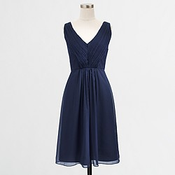 Factory pleated V-neck dress in poly