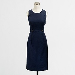 Factory linen button-tab shift dress