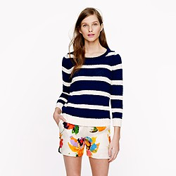 Twisted stitch open-neck sweater in stripe
