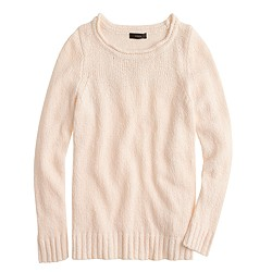 Twisted stitch open-neck sweater