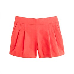 Pleated short in structured cotton