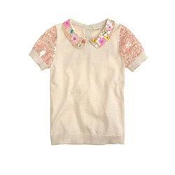 Girls' sequin short-sleeve popover