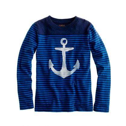 Boys' long-sleeve stripe football tee with anchor