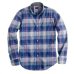 Tall indian cotton shirt in faded twilight plaid