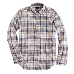 Indian cotton shirt in red faded twilight plaid