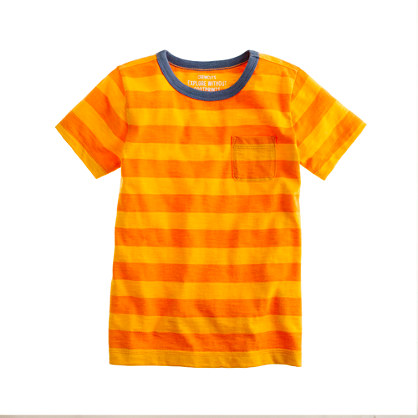 Boys' ringer pocket tee in orange stripe