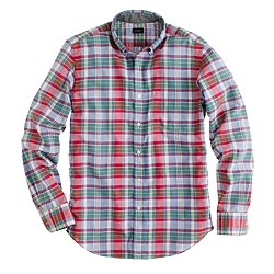 Indian cotton shirt in green faded twilight plaid