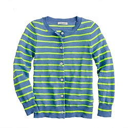 Girls' Caroline cardigan in neon stripe