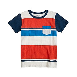Boys' pocket tee in calypso orange stripe
