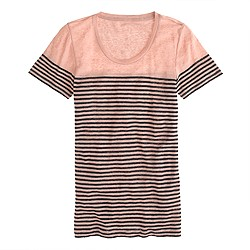 Linen engineered-stripe tee