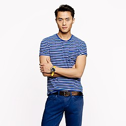 Slub cotton pocket tee in deep pacific stripe
