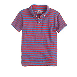 Boys' slub cotton polo in stripe