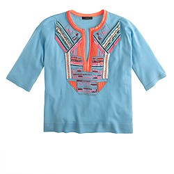 Collection short-sleeve beaded sweater