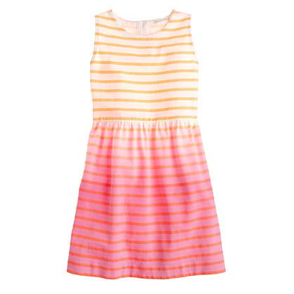 Girls' stripe dip-dyed dress