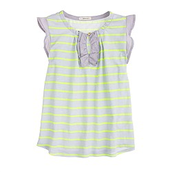 Girls' ruffle tank in stripe