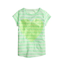 Girls' stripe tee with sequin heart