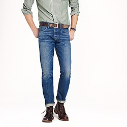 Wallace & Barnes slim selvedge jean in White Oak Cone Denim® with deck fade wash