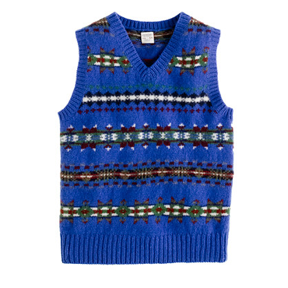 Boys' lambswool Fair Isle vest - wool - Boy's sweaters - J.Crew :  black sweater vest boys brown