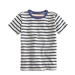 Boys' ringer tee in blue stripe