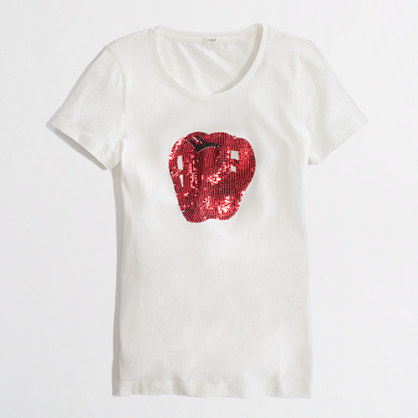 Factory sequin apple graphic tee