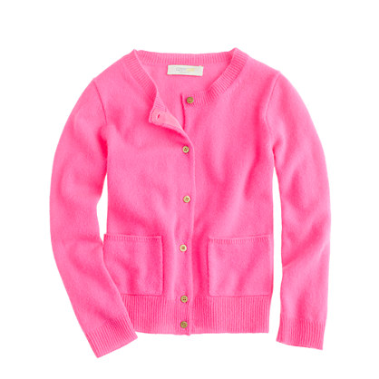 Girls' cashmere gold-button cardigan in larger sizes