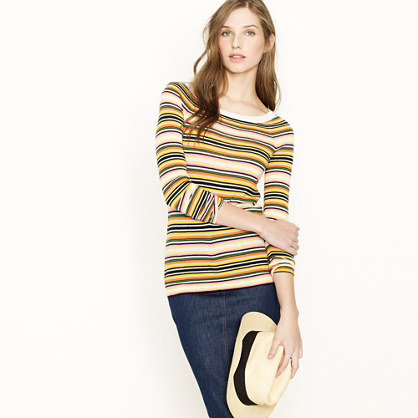 Cashmere boatneck sweater in multistripe