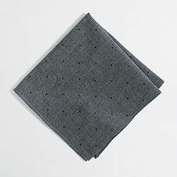 Factory dot chambray pocket square