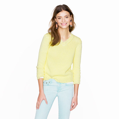 Collection open-stitch V-neck sweater in marled kiwi