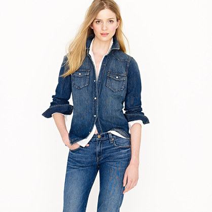 Denim western shirt casual shirts j crew for Jeans and shirt women