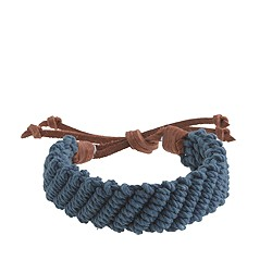 Braided rope-and-leather bracelet
