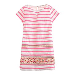 Girls' stitchwork stripe dress