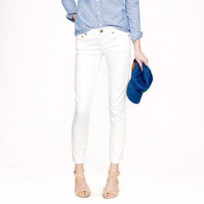 Cropped matchstick jean in white