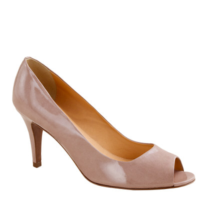 Drea patent peep-toe pumps