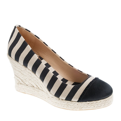 Seville canvas and satin wedge espadrilles