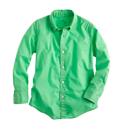 Boys' Secret Wash shirt in garment-dyed