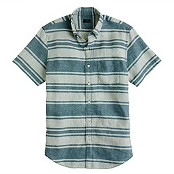 Short-sleeve linen shirt in rustic sea stripe