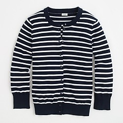 Factory classic crewneck cardigan in stripe