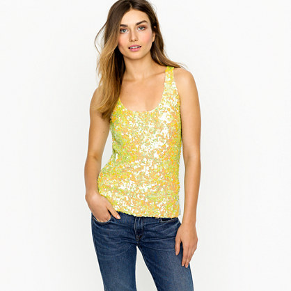 Citron sequin tank
