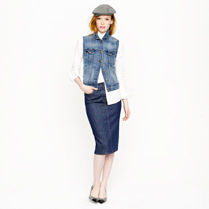 High-waisted denim pencil skirt in rinse wash