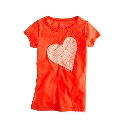 Girls' happy heart sequin tee