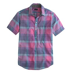 Indian cotton short-sleeve popover in faded plaid