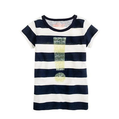 Girls' exclamation tee in stripe