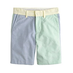 Boys' club short in colorblock oxford cloth