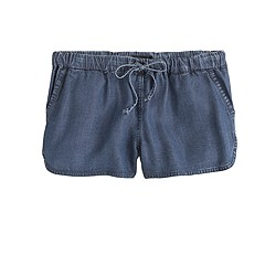 Lightweight washed chambray short