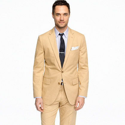 Aldridge three-button suit jacket with center vent in Italian chino