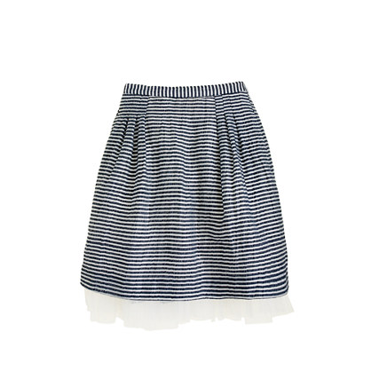 Girls' organza skirt in mini stripe