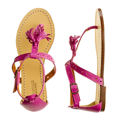 Girls' tassel T-strap sandals