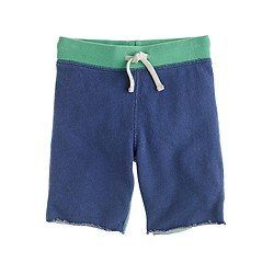 Boys' pull-on knit short in colorblock rugged terry