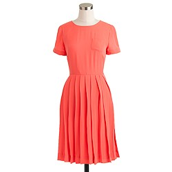 Pleated silk pocket dress